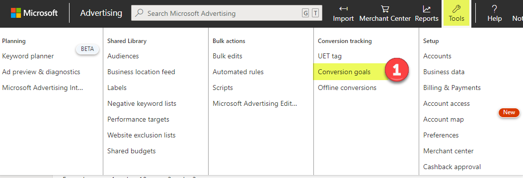 Bing Ads add new conversion