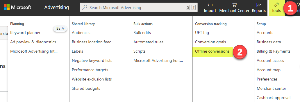 Bing Ads conversion upload